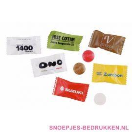 Flowpack bedrukken, goedkoop snoepjes bedrukken, snoep bedrukken, snoep een stuks verpakking bedrukken