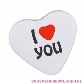 Snoep blikje bedrukken hartvorm, valentijn relatiegeschenken, snoep doosje bedrukken, snoep bedrukken, snoep met logo