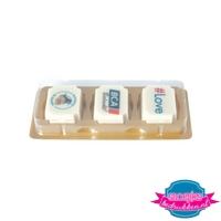 Bonbon set 3 stuks witte chocolade bedrukken met logo