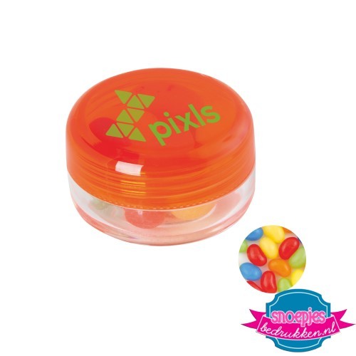 Rond potje jelly beans bedrukken oranje