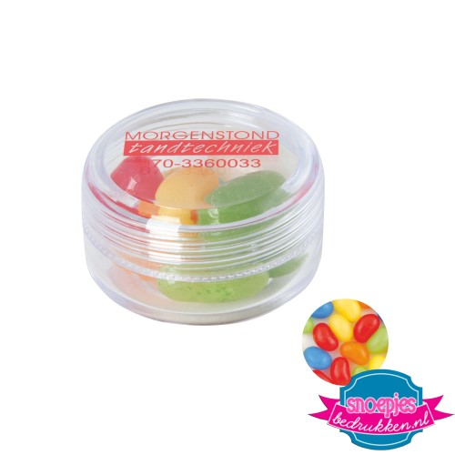 Rond potje jelly beans bedrukken transparant