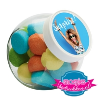 Glazen snoeppot 395 ml marsh mellow mix goedkoop bedrukt label logo