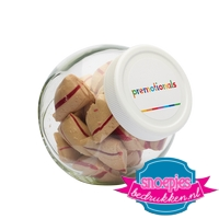 Glazen snoeppot 870 ml kaneelkussens goedkoop bedrukt logo