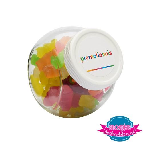 Glazen snoeppotje 395 ml gummi beren bedrukken