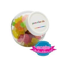 Glazen snoeppotje 395 ml gummi beren goedkoop bedrukt