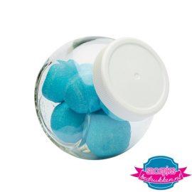 Glazen snoeppotje 395 ml marsh mellow blauw bedrukken