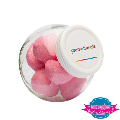 Glazen snoeppotje 395 ml marsh mellow roze spekjes bedrukken