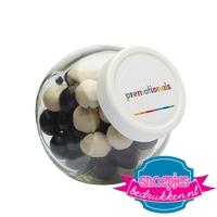 Glazen snoeppotje 395 ml salmiak ballen goedkoop bedrukt