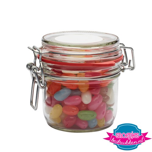 Glazen weckpot 255 ml jelly beans bedrukken