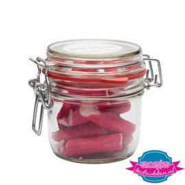 Glazen weckpot 255 ml roze zuurstok bedrukken