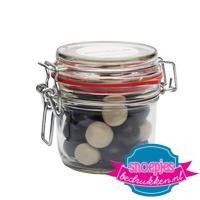 Glazen weckpot 255 ml salmiak ballen goedkoop bedrukt