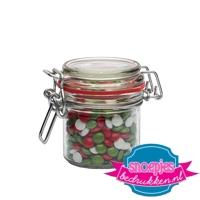 Glazen weckpotje 125 ml choco mix italie relatiegeschenk goedkoop bedrukt