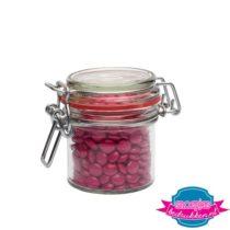 Glazen weckpotje 125 ml choco roze bedrukken