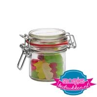 Glazen weckpotje 125 ml gummi beren goedkoop bedrukken
