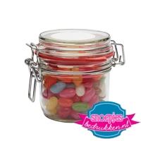 Glazen weckpotje 125 ml jelly beans goedkoop bedrukt