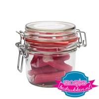 Glazen weckpotje 125 ml roze zuurstok goedkoop bedrukt
