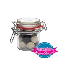 Glazen weckpotje 125 ml salmiak ballen goedkoop bedrukt