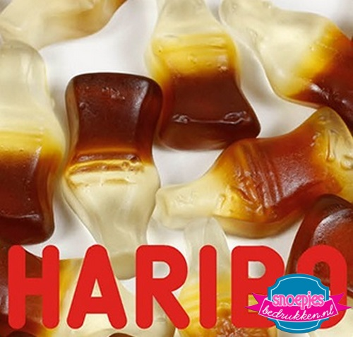 Haribo cola flesjes snoepzak snoeppot bedrukken