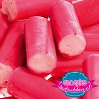 Papieren snoepzakjes roze zuurstok relatiegeschenk