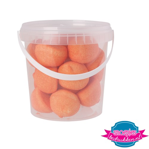 Snoep emmer transparant 670 ml marsh mellow oranje bedrukken