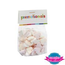 Transparante snoepzakjes suikerhartjes met logo
